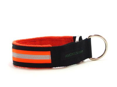 オレンジ|犬の首輪(ハーフチョークカラー)|AMOKEN リフレクティブフリースハーフチョーク