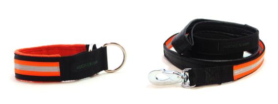 オレンジ首輪、リード|AMOKEN リフレクティブハーフチョーク&リードセット|犬グッズ通販HAU(ハウ)