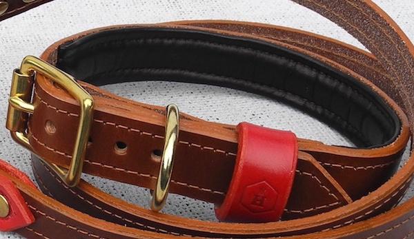 柔らかいソフトパッド(グローブレザー)革製首輪|モノグラムラグジュアリーブライドルレザードッグカラー パッド付 グッズ通販HAU