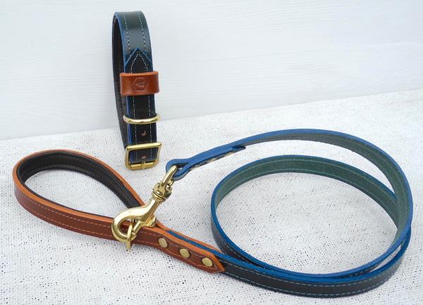 おそろいの革製犬用リード|モノグラムレザードッグカラー|犬グッズ通販HAU