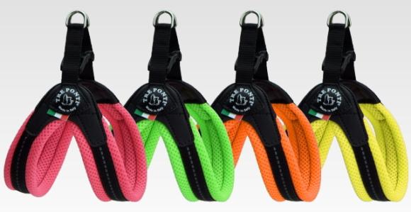 ピンク、イエロー、オレンジ、グリーン|小型犬用ハーネスFibbiaソフトメッシュ|犬グッズ通販HAU