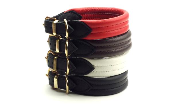 レッド、ブラウン、ブラック、ホワイト|革製首輪、レザーカラー|犬グッズ通販HAU
