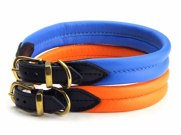 オレンジ、ブルー|革製首輪ポーランドレザーカラー|犬グッズ通販HAU