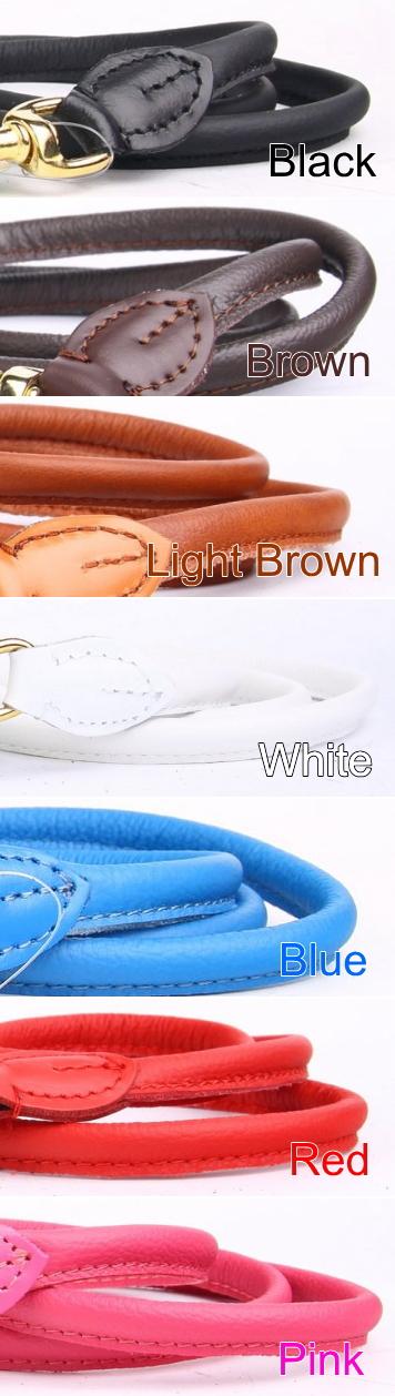 革製犬用リード、ブラック、ブラウン、レッド、ホワイト|ラウンドレザーリーシュ /ポーランド製|犬グッズ通販HAU